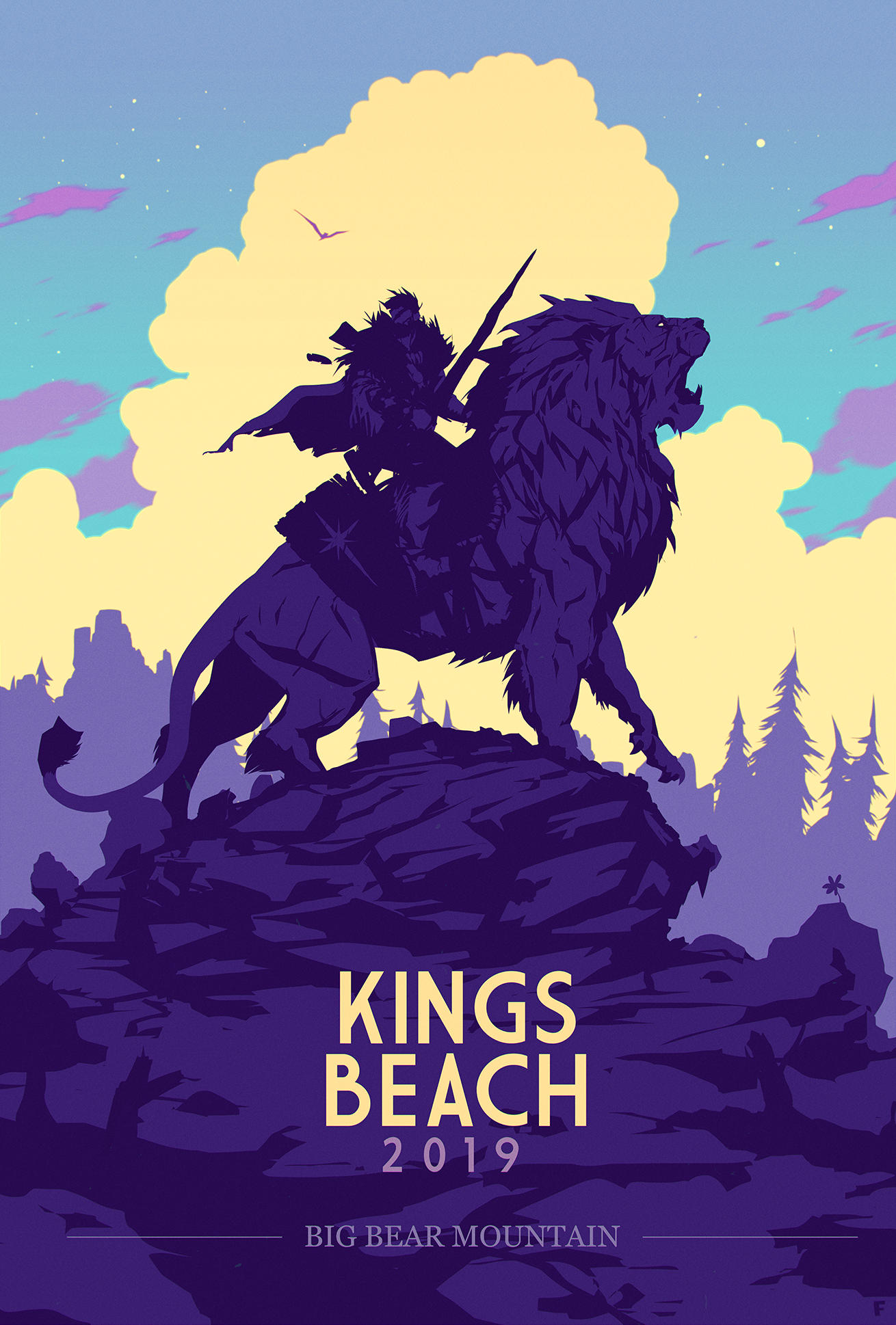 Illustration of the Kings Beach 2019 poster featuring a man riding a lion