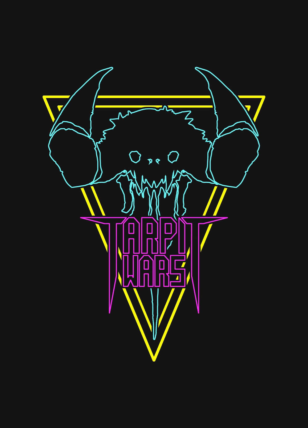 Tar Pit Wars logo featuring an outlined creature skull in neon colors
